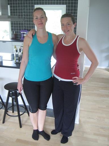 Syster Yster och jag innan gårdagens träningspass med PT:n på gymmet!