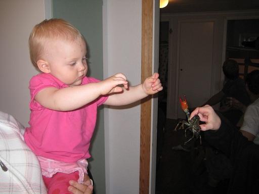 Elise vill gärna hålla i kräftan själv.